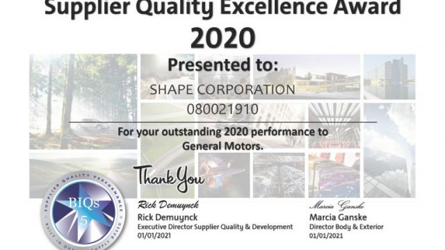 Shape Earns GM Supplier Excellence Awards